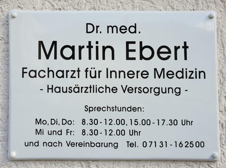 Praxisschild - Dr Ebert - Heilbronn